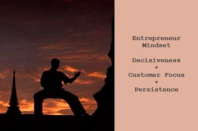 Entrepreneur Mindset = maintaining the proper mindset of being decisive, being customer focused, and making your entrepreneur dreams a reality despite obstacles.